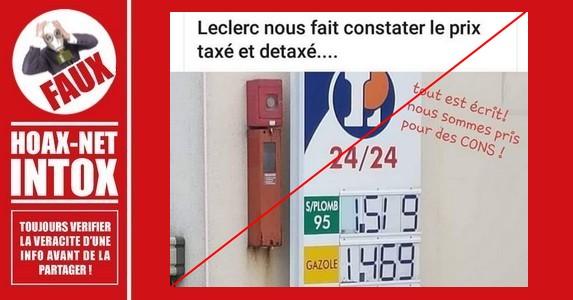 Non, E.LECLERC n'a pas affiché les prix du gasoil taxé et détaxé pour les particuliers