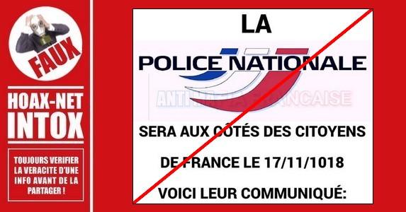 Non, il ne s'agit pas d'un communiqué de la Police Nationale