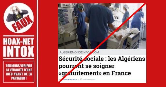 Non, les soins de santé ne seront pas gratuits en France pour les Algériens