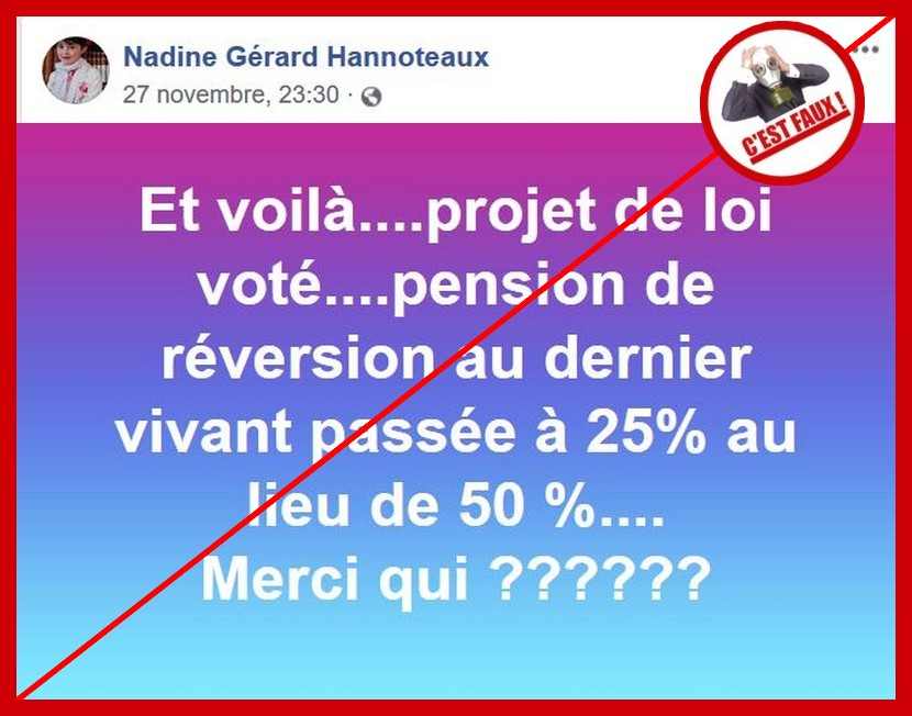 Non La Modification De La Pension De Reversion N Est Pas Encore
