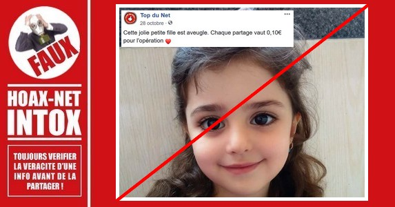 Non, pas plus qu'en 2015, cette petite fille n'est ni Marocaine, ni aveugle.