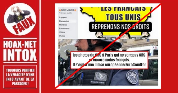 Non,  à Paris, les CRS ne sont pas des policiers de EuroGendFor.