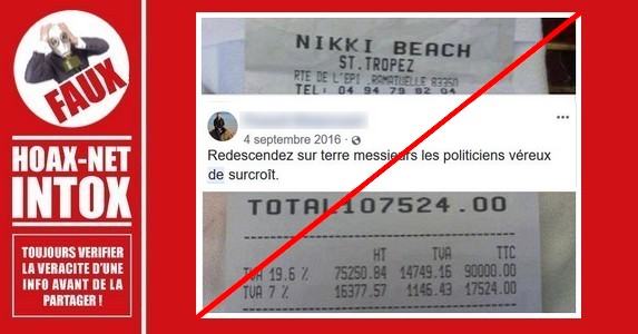 Non, cette note de restaurant n'appartient pas à Nicolas Sarkozy.