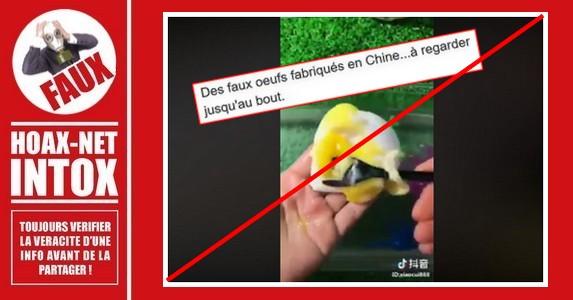 Non, en Chine ces faux œufs  ne sont pas produits à des fins de  consommation