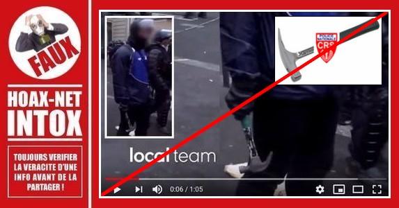 Non, les policiers n'utilisent pas de marteau dans les manifestations
