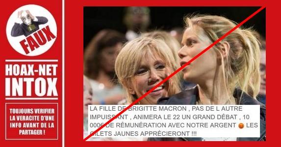 Non, la fille de Brigitte Macron n'a pas été payée pour organiser un débat.