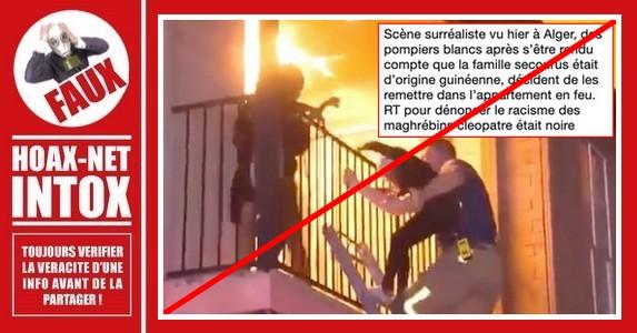 Non, des pompiers n'ont pas remis des enfants dans le feu à Alger.