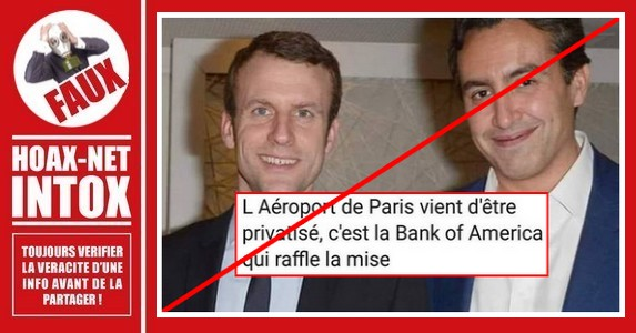 Fake news à propos de la privatisation d'Aéroports de Paris.