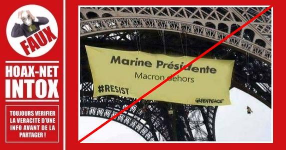 Détournement d'une banderole par des sympathisants de Marine Le Pen