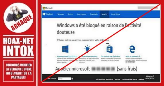 Microsoft : Tentative de phishing en ligne ou par téléphone.