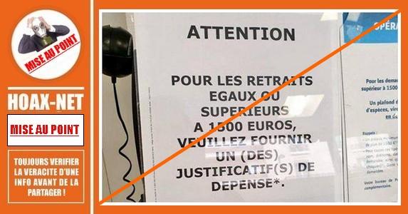 Mise au point : justificatifs de dépense demandés par La Poste pour tout retrait d'argent de plus de 1.500€