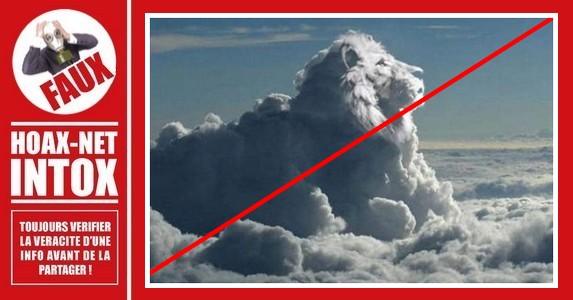 Non, la tête de ce lion dans le ciel n'est pas réelle.