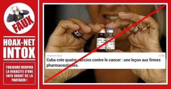 Non, Cuba n'a pas crée quatre vaccins contre le cancer.