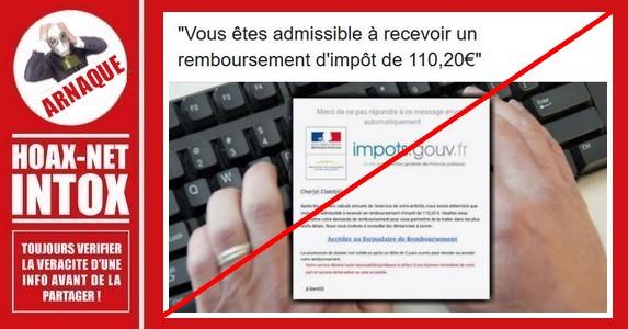 Arnaque : Remboursement d'impôts par courriel