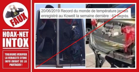 Non, ces images ne sont pas dues à une chaleur extrême au Koweït.