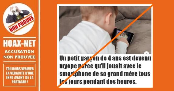 Non, il n'est pas prouvé qu'un enfant de 4 ans soit devenu myope en regardant un écran.
