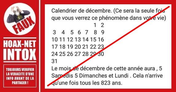 Non, 5 Samedis, 5 Dimanches, 5 Lundis en Décembre, cela ne se reproduit pas tous les 823 ans.
