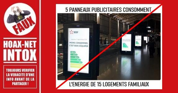 Non, 5 panneaux publicitaires ne consomment pas l'énergie de 15 logements.