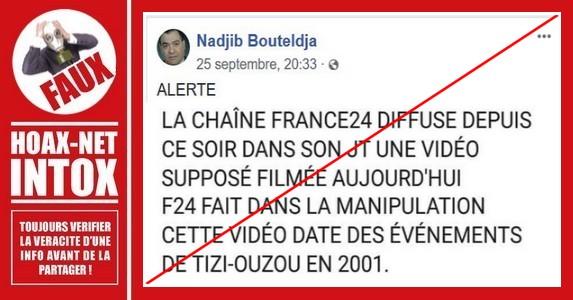 Non, FRANCE24 n'a pas manipulé l'information avec une vidéo de 2001.