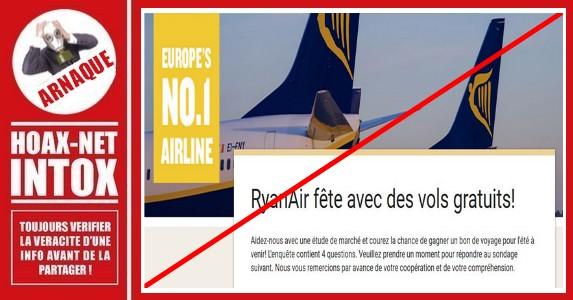 ARNAQUE – Non, vous ne gagnerez pas de vols gratuits chez Ryanair.