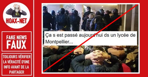FAUX-Non, des lycéens n'ont pas été mis à genoux par les Crs à Montpellier.