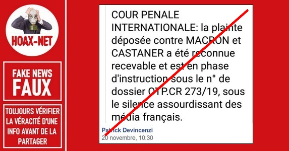 Non, aucune plainte à la CPI visant le Président E.Macron pour crime contre l'humanité n'a été jugée recevable.