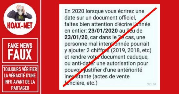 Non, écrire l'année en entier sur une lettre ne concerne pas que 2020.