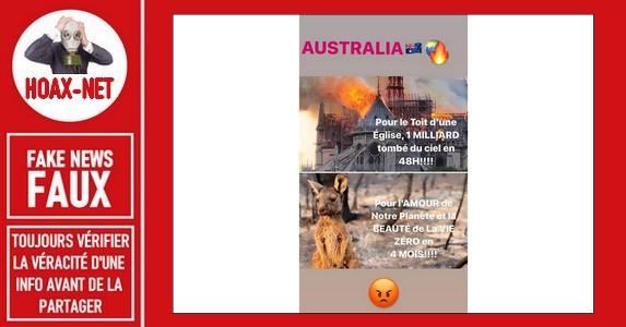 Il est faux de prétendre qu'il n'y a  eu aucun don pour l'Australie en 4 mois.