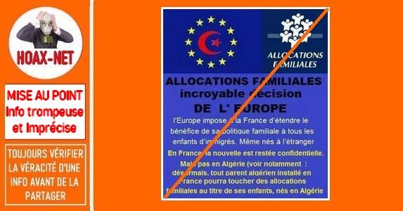 Mise au point sur «les allocations familiales» pour les enfants nés en Algérie