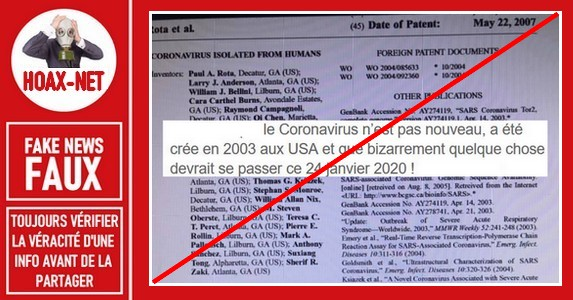 Non, le Coronavirus n'a pas été crée en 2003 aux USA.