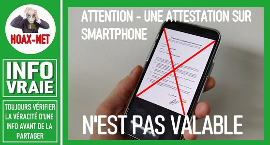 Attention, en France les attestations de déplacement ne sont plus valables sur smartphone.