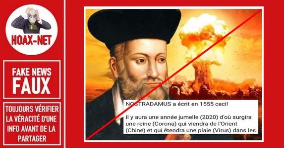 Non, Nostradamus n'a pas prédit le coronavirus (Covid-19).