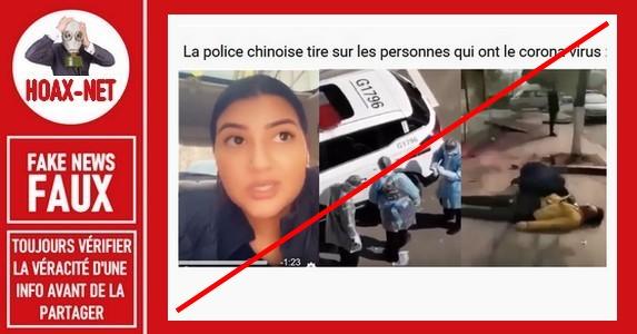 Non, une jeune femme n'a pas été abattue par des policiers chinois