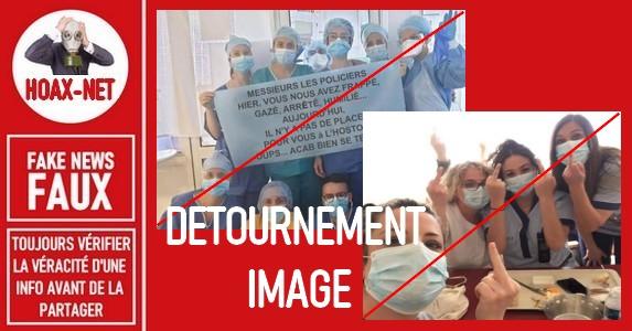 Détournement de 2 photos d'infirmières à des fins politiques