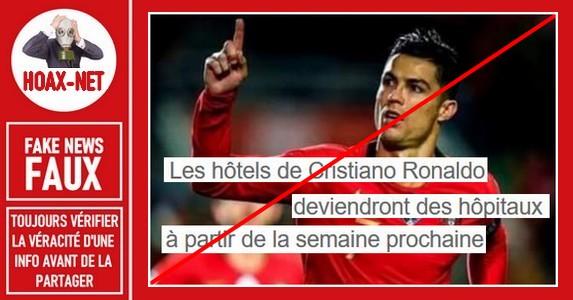 Non, Cristiano Ronaldo  n'a pas transformé ses hôtels en hôpitaux