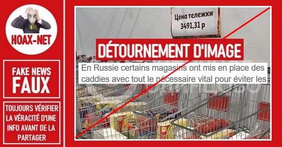 Non, des chariots pré-remplis n'ont pas été imposés aux clients des supermarchés en Russie