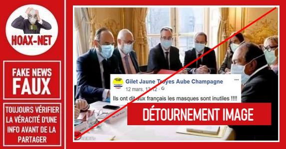 Non non, les ministres Français ne portaient pas un masque sur cette photo