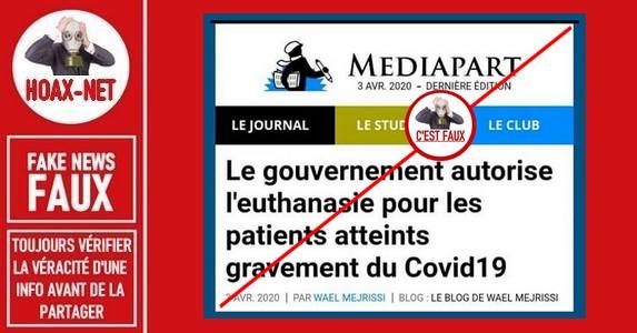 Non, la France n'a pas autorisé l'euthanasie pour les patients gravement atteints  du Covid-19 !