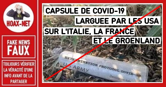Non, l'US ARMY n'a pas largué des capsules de Covid-19 sur l'Italie, la France et le Groenland.
