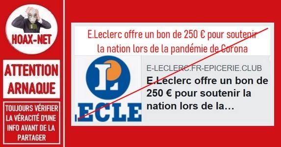 ARNAQUE – Non, E.Leclerc n'offre pas un bon de 250€ pendant la pandémie du Covid-19