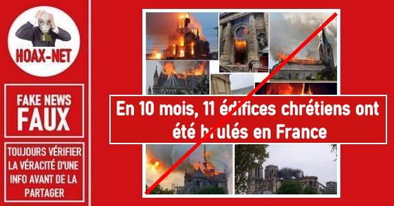 Non, cette publication ne représente pas 11 édifices religieux incendiés en France en 10 mois.