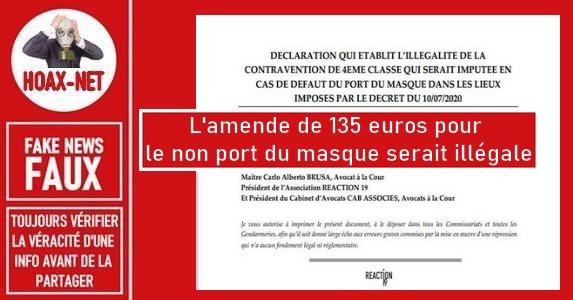 Non, l'amende de 135€ pour non port du masque n'est pas illégale.