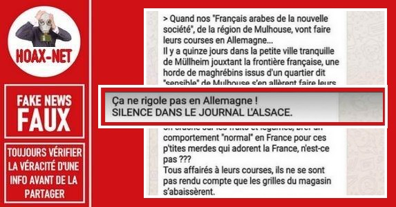 Fausse rumeur raciste de 2013 sur des maghrébins de Mulhouse à l'Aldi Sud de Mullheim.