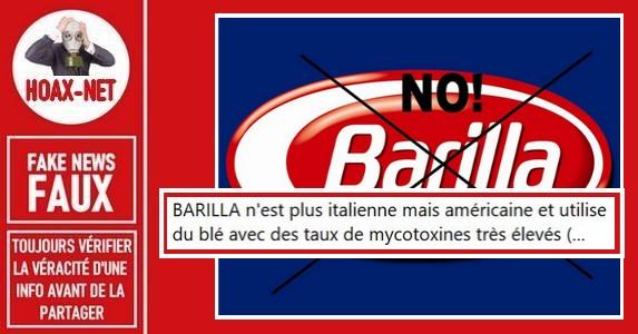 Non, Barilla n'est pas américain et n'empoisonne pas ses consommateurs.