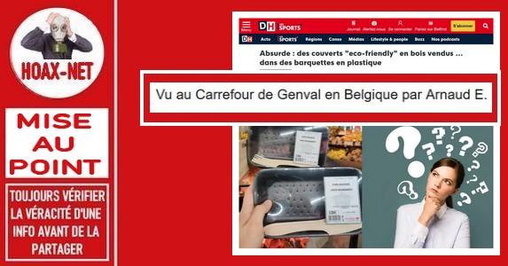 Non, ces couverts préemballés ne sont pas vendus au Carrefour Market Genval «La Mazerine»