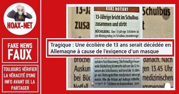 Non, une collégienne allemande de 13 ans n'est pas décédée à cause du port d'un masque.