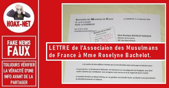 FAUSSE LETTRE de l'Association des Musulmans de France à Roselyne Bachelot..