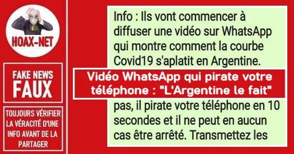 Non, la vidéo «L'Argentine le fait» sur WhatsApp ne piratera pas votre téléphone.