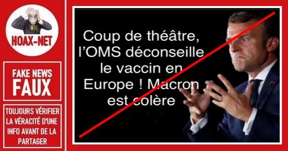Non, l'OMS ne déconseille pas le vaccin en Europe.
