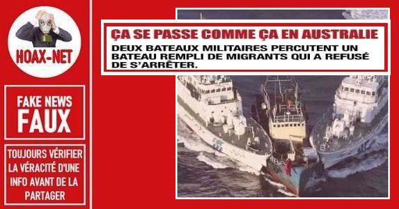 Non, ce ne sont pas des bateaux australiens qui percutent un bateau de migrants.